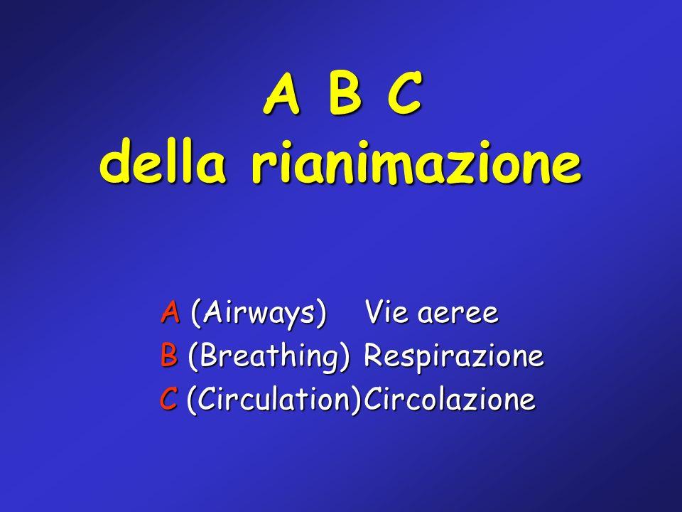 A B C della rianimazione A (Airways)Vie aeree B (Breathing) Respirazione C (Circulation)Circolazione
