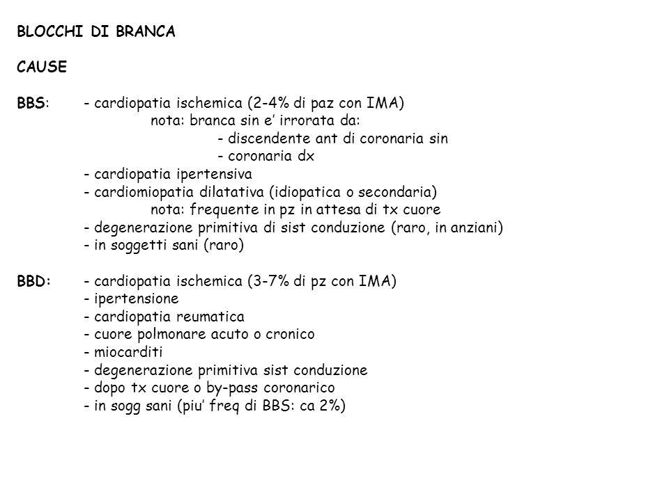 BLOCCHI DI BRANCA CAUSE BBS:- cardiopatia ischemica (2-4% di paz con IMA) nota: branca sin e irrorata da: - discendente ant di coronaria sin - coronar