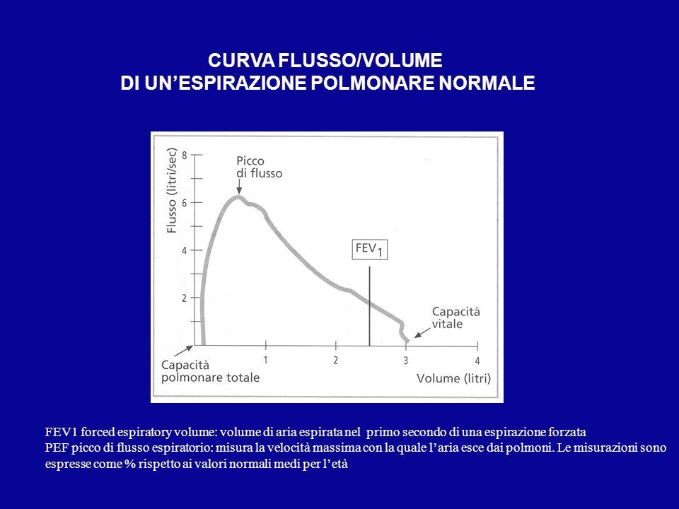 CURVA FLUSSO/VOLUME DI UNESPIRAZIONE POLMONARE NORMALE FEV1 forced espiratory volume: volume di aria espirata nel primo secondo di una espirazione for