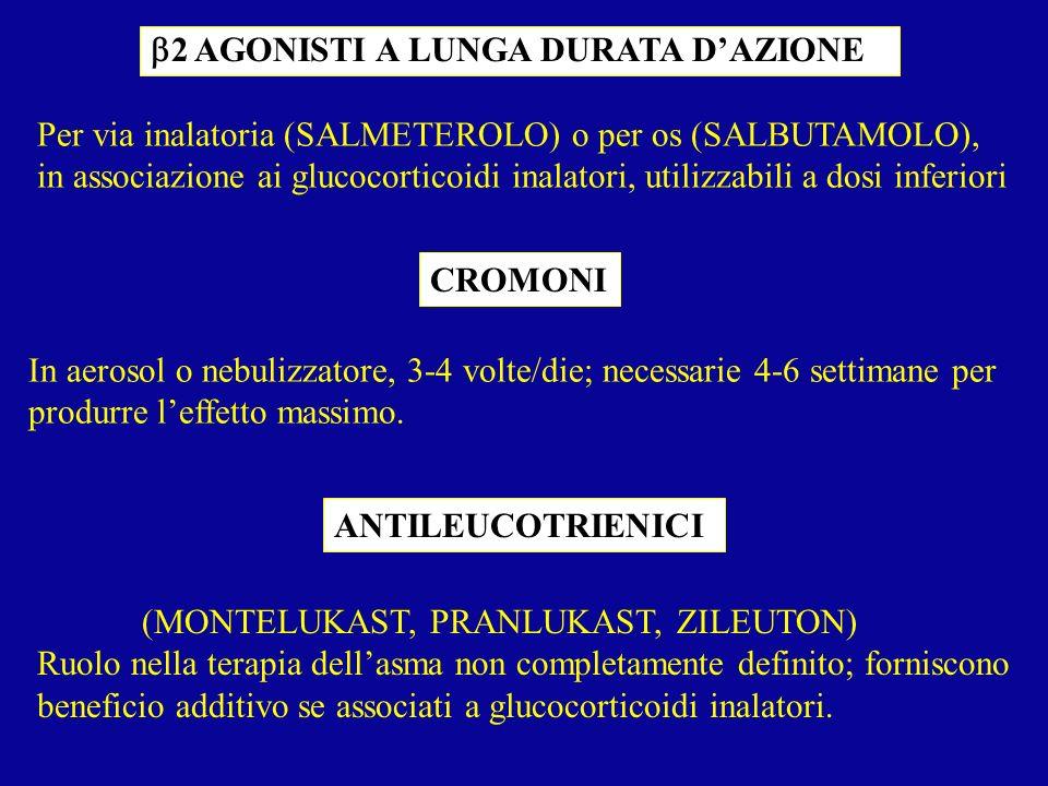 2 AGONISTI A LUNGA DURATA DAZIONE Per via inalatoria (SALMETEROLO) o per os (SALBUTAMOLO), in associazione ai glucocorticoidi inalatori, utilizzabili