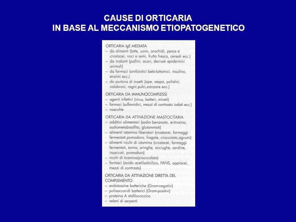 CAUSE DI ORTICARIA IN BASE AL MECCANISMO ETIOPATOGENETICO