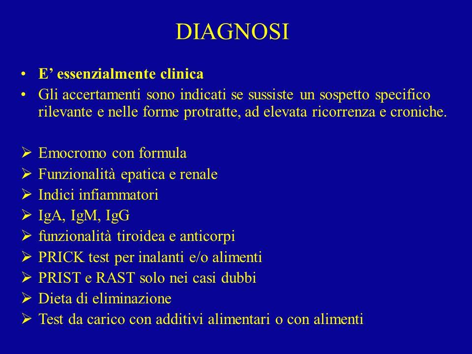 E essenzialmente clinica Gli accertamenti sono indicati se sussiste un sospetto specifico rilevante e nelle forme protratte, ad elevata ricorrenza e c