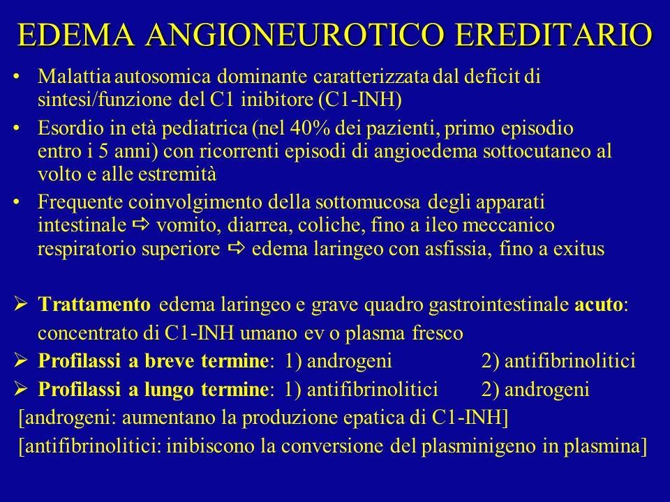 EDEMA ANGIONEUROTICO EREDITARIO Malattia autosomica dominante caratterizzata dal deficit di sintesi/funzione del C1 inibitore (C1-INH) Esordio in età