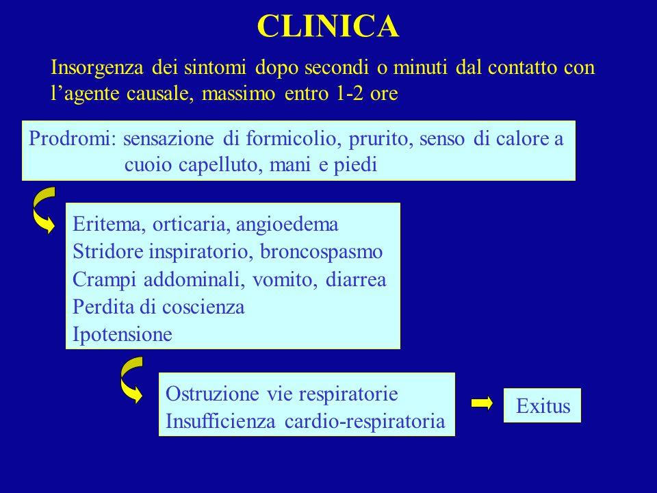 CLINICA Insorgenza dei sintomi dopo secondi o minuti dal contatto con lagente causale, massimo entro 1-2 ore Prodromi: sensazione di formicolio, pruri