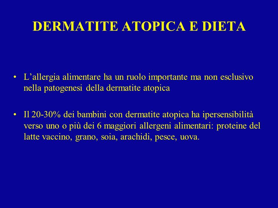 DERMATITE ATOPICA E DIETA Lallergia alimentare ha un ruolo importante ma non esclusivo nella patogenesi della dermatite atopica Il 20-30% dei bambini
