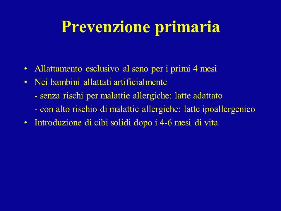 Prevenzione primaria Allattamento esclusivo al seno per i primi 4 mesi Nei bambini allattati artificialmente - senza rischi per malattie allergiche: l