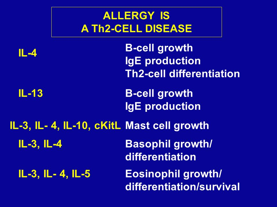 ALLERGY IS A Th2-CELL DISEASE IL-3, IL- 4, IL-10, cKitLMast cell growth IL-3, IL-4Basophil growth/ differentiation IL-3, IL- 4, IL-5Eosinophil growth/
