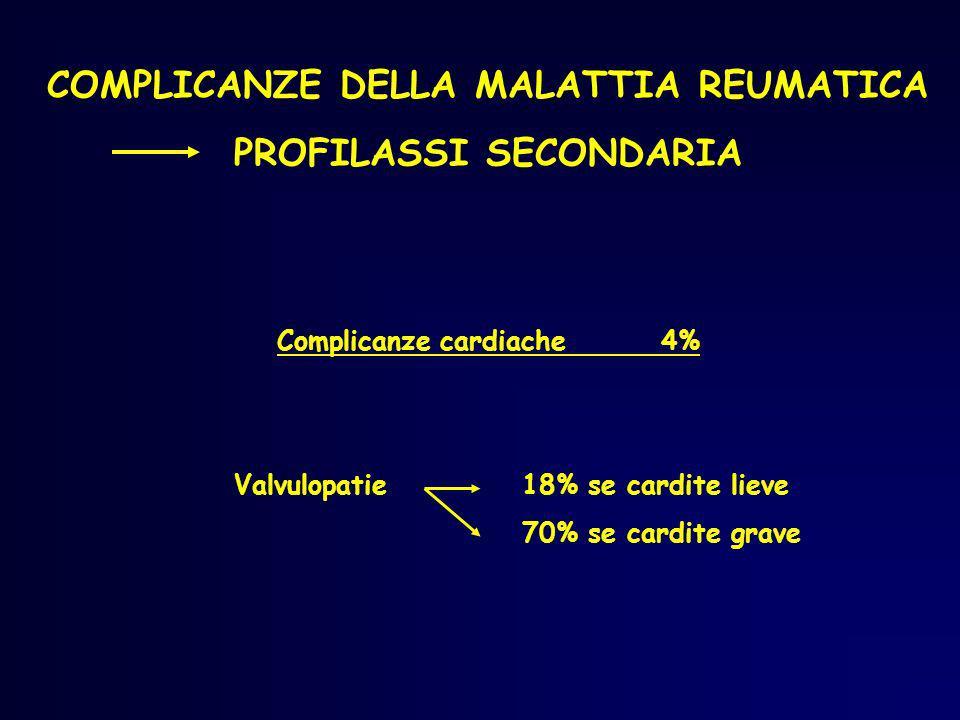 COMPLICANZE DELLA MALATTIA REUMATICA PROFILASSI SECONDARIA Complicanze cardiache4% Valvulopatie18% se cardite lieve 70% se cardite grave