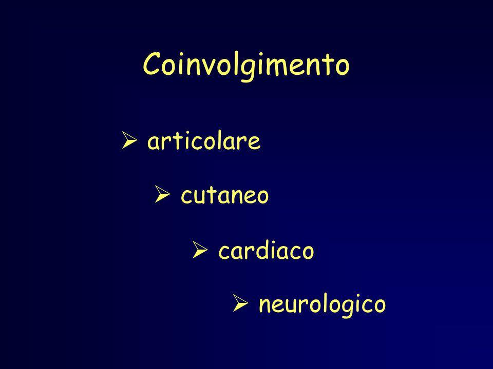 Coinvolgimento articolare cutaneo cardiaco neurologico