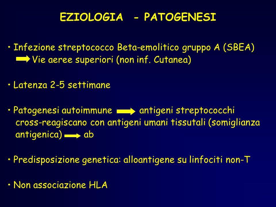 EZIOLOGIA - PATOGENESI Infezione streptococco Beta-emolitico gruppo A (SBEA) Vie aeree superiori (non inf. Cutanea) Latenza 2-5 settimane Patogenesi a