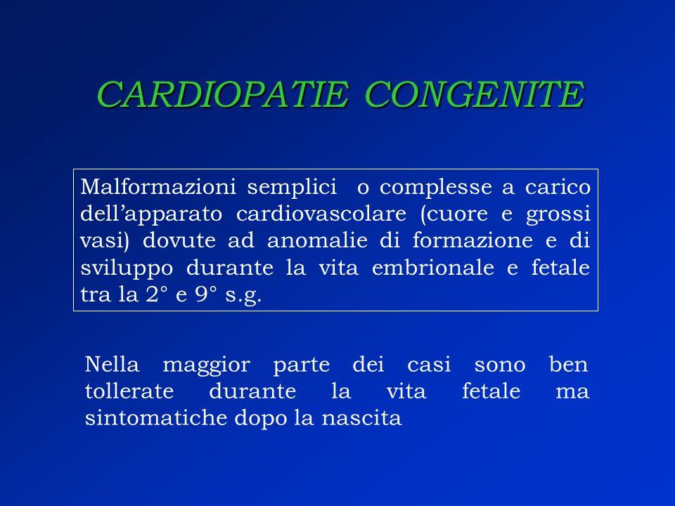 CARDIOPATIE CONGENITE Malformazioni semplici o complesse a carico dellapparato cardiovascolare (cuore e grossi vasi) dovute ad anomalie di formazione