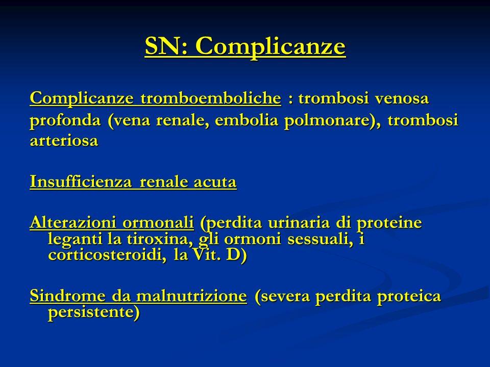 SN: Complicanze Complicanze tromboemboliche : trombosi venosa profonda (vena renale, embolia polmonare), trombosi arteriosa Insufficienza renale acuta Alterazioni ormonali (perdita urinaria di proteine leganti la tiroxina, gli ormoni sessuali, i corticosteroidi, la Vit.