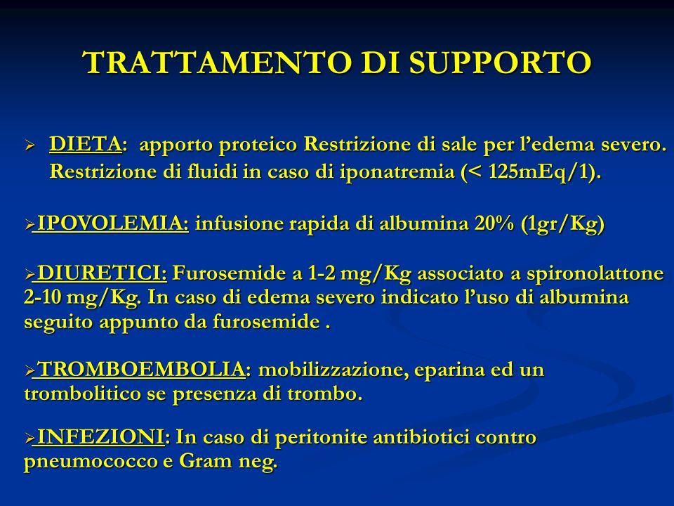 TRATTAMENTO DI SUPPORTO DIETA: apporto proteico Restrizione di sale per ledema severo.