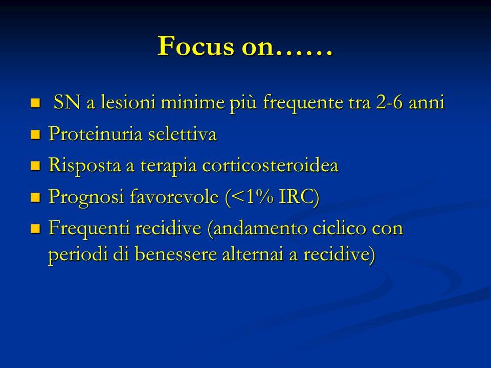Focus on…… SN a lesioni minime più frequente tra 2-6 anni SN a lesioni minime più frequente tra 2-6 anni Proteinuria selettiva Proteinuria selettiva Risposta a terapia corticosteroidea Risposta a terapia corticosteroidea Prognosi favorevole (<1% IRC) Prognosi favorevole (<1% IRC) Frequenti recidive (andamento ciclico con periodi di benessere alternai a recidive) Frequenti recidive (andamento ciclico con periodi di benessere alternai a recidive)