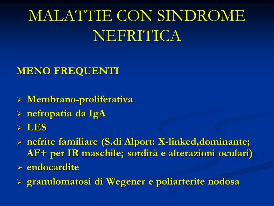 MALATTIE CON SINDROME NEFRITICA MENO FREQUENTI Membrano-proliferativa Membrano-proliferativa nefropatia da IgA nefropatia da IgA LES LES nefrite familiare (S.di Alport: X-linked,dominante; AF+ per IR maschile; sordità e alterazioni oculari) nefrite familiare (S.di Alport: X-linked,dominante; AF+ per IR maschile; sordità e alterazioni oculari) endocardite endocardite granulomatosi di Wegener e poliarterite nodosa granulomatosi di Wegener e poliarterite nodosa