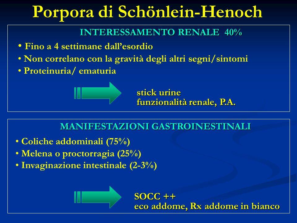 Fino a 4 settimane dallesordio Non correlano con la gravità degli altri segni/sintomi Proteinuria/ ematuria stick urine funzionalità renale, P.A.