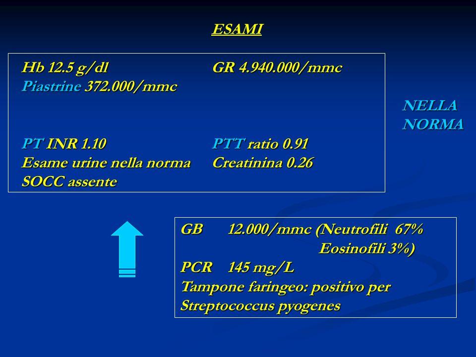 ESAMI Hb 12.5 g/dl GR 4.940.000/mmc Piastrine 372.000/mmc NELLA NORMA PT INR 1.10PTT ratio 0.91 Esame urine nella norma Creatinina 0.26 SOCC assente GB 12.000/mmc (Neutrofili 67% Eosinofili 3%) PCR 145 mg/L Tampone faringeo: positivo per Streptococcus pyogenes