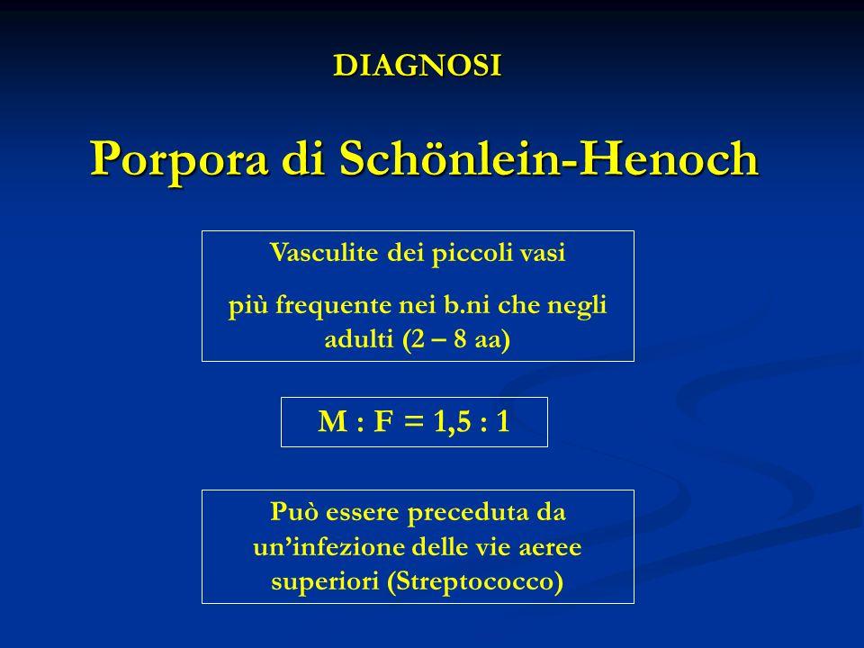 DIAGNOSI Porpora di Schönlein-Henoch Può essere preceduta da uninfezione delle vie aeree superiori (Streptococco) M : F = 1,5 : 1 Vasculite dei piccoli vasi più frequente nei b.ni che negli adulti (2 – 8 aa)