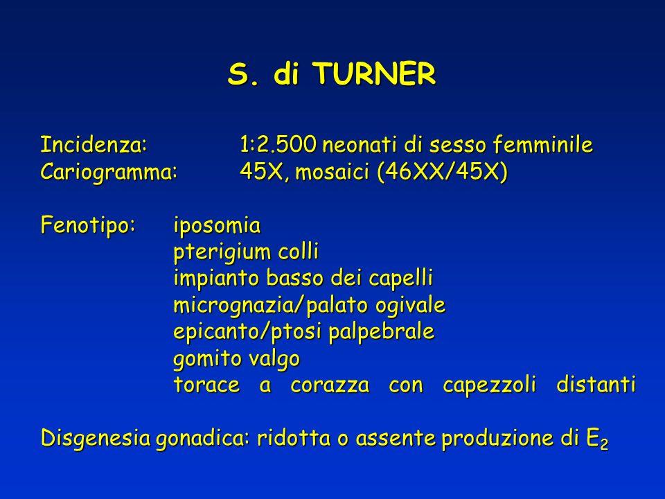 S. di TURNER Incidenza:1:2.500 neonati di sesso femminile Cariogramma:45X, mosaici (46XX/45X) Fenotipo:iposomia pterigium colli impianto basso dei cap