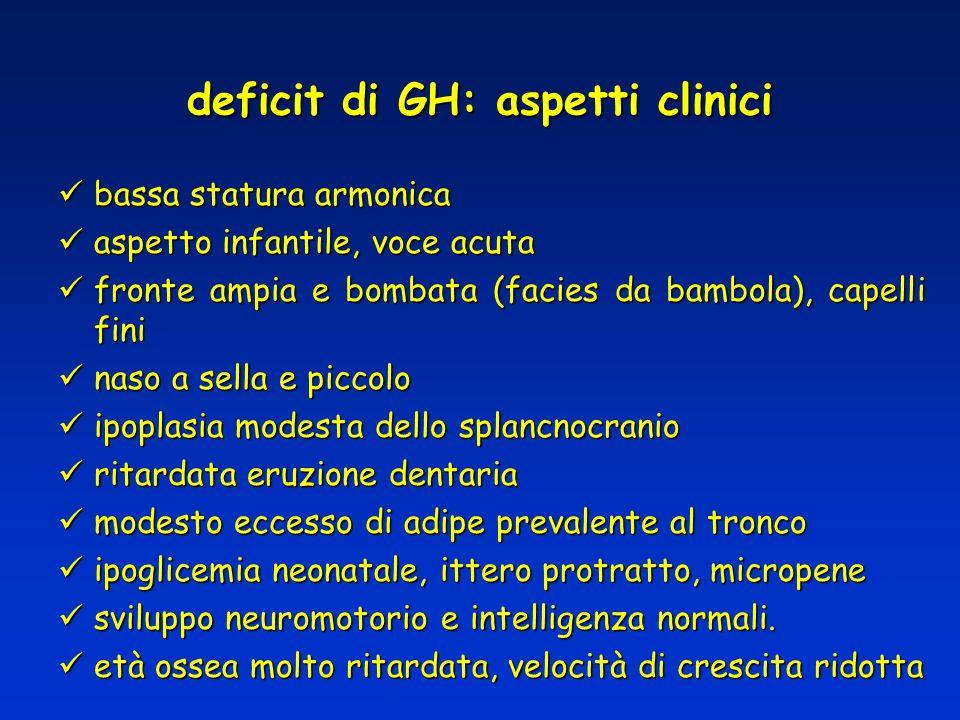 deficit di GH: aspetti clinici bassa statura armonica bassa statura armonica aspetto infantile, voce acuta aspetto infantile, voce acuta fronte ampia