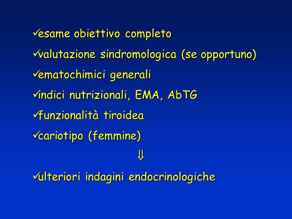 esame obiettivo completo esame obiettivo completo valutazione sindromologica (se opportuno) valutazione sindromologica (se opportuno) ematochimici gen