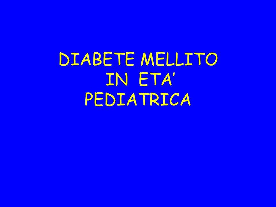 Sintomi di diabete e/o glucosio plasmatico >200mg/dl glicemia a digiuno > 126 mg/dl glicemia 2 h >200 mg/dl durante OGTT Questi criteri dovrebbero essere confermati ripetendo i tests in giorni diversi ADA Consensus Statements, Diabetes Care, 2000 Criteri di diagnosi
