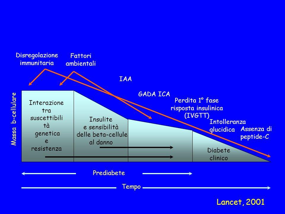 Massa b-cellulare Disregolazione immunitaria Fattori ambientali IAA Interazione tra suscettibili tà genetica e resistenza Insulite e sensibilità delle