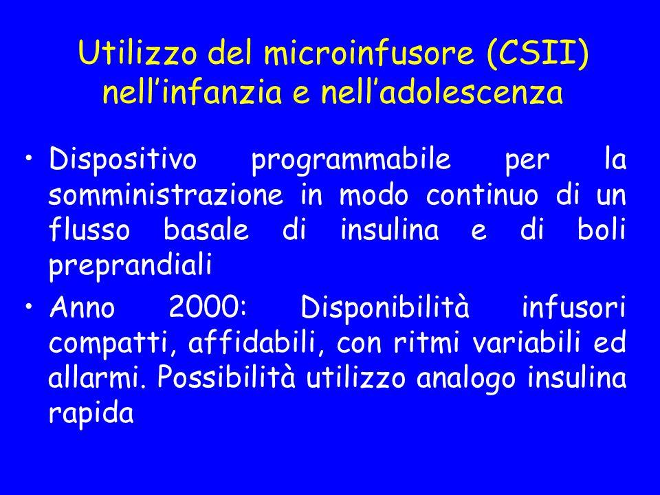 Utilizzo del microinfusore (CSII) nellinfanzia e nelladolescenza Dispositivo programmabile per la somministrazione in modo continuo di un flusso basal