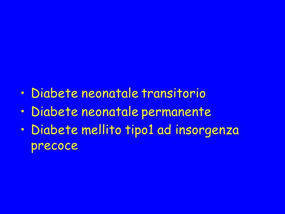 Diabete neonatale transitorio Diabete neonatale permanente Diabete mellito tipo1 ad insorgenza precoce
