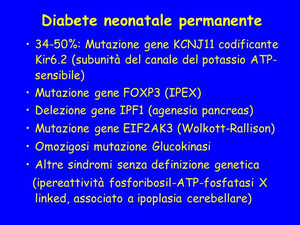 Diabete neonatale permanente 34-50%: Mutazione gene KCNJ11 codificante Kir6.2 (subunità del canale del potassio ATP- sensibile) Mutazione gene FOXP3 (