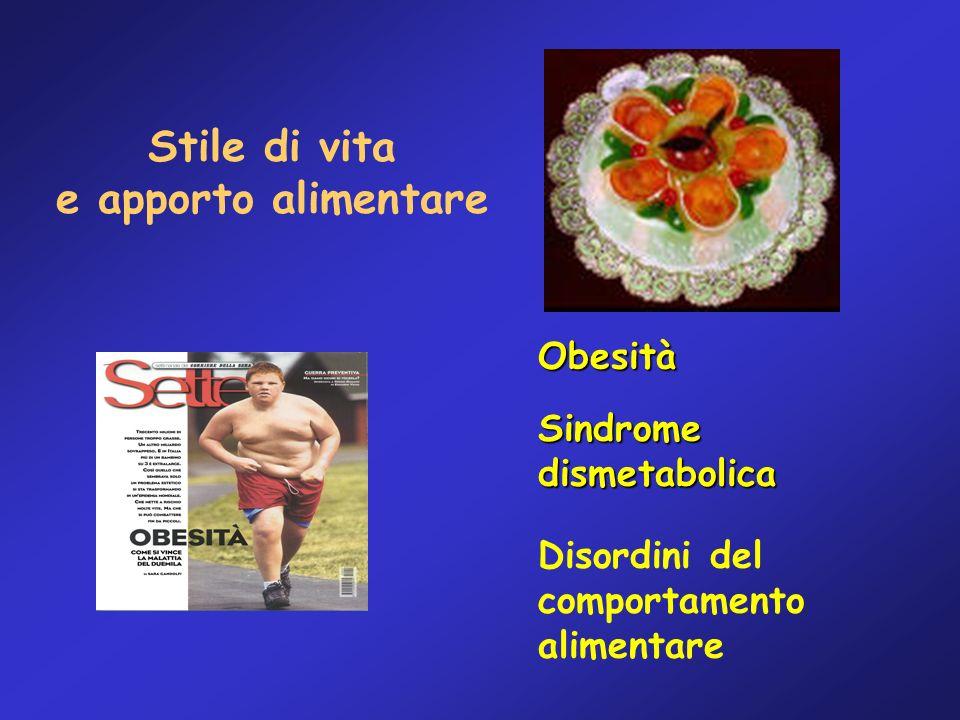 Stile di vita e apporto alimentare Obesità Sindromedismetabolica Disordini del comportamento alimentare