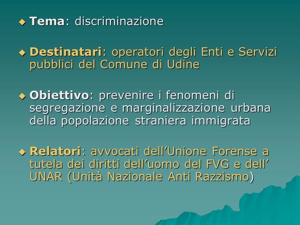 Tema: discriminazione Tema: discriminazione Destinatari: operatori degli Enti e Servizi pubblici del Comune di Udine Destinatari: operatori degli Enti