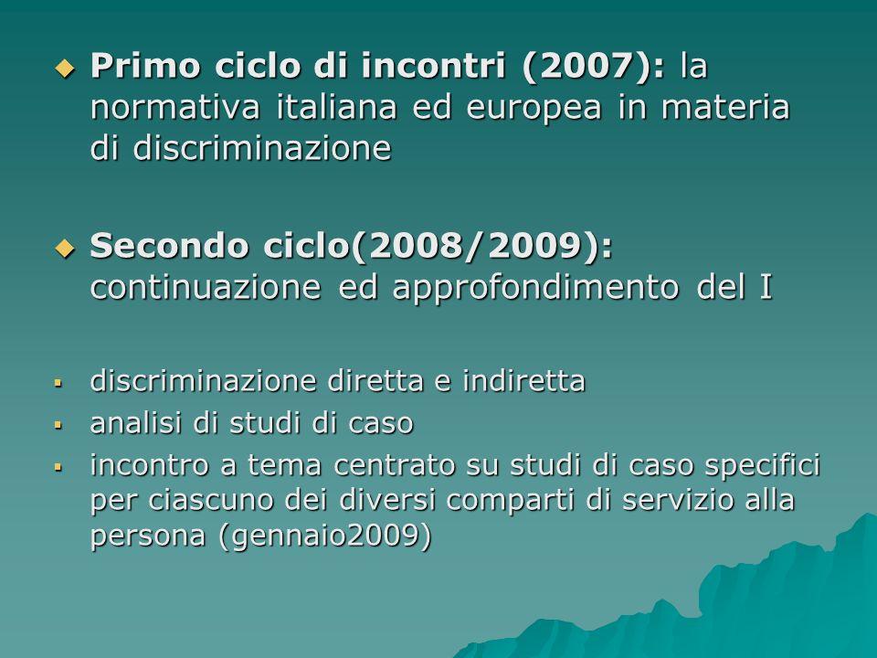 Primo ciclo di incontri (2007): la normativa italiana ed europea in materia di discriminazione Primo ciclo di incontri (2007): la normativa italiana e
