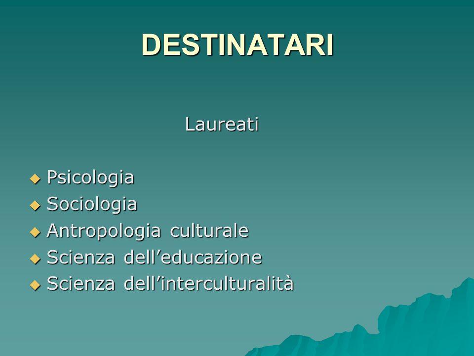 DESTINATARI Laureati Laureati Psicologia Psicologia Sociologia Sociologia Antropologia culturale Antropologia culturale Scienza delleducazione Scienza