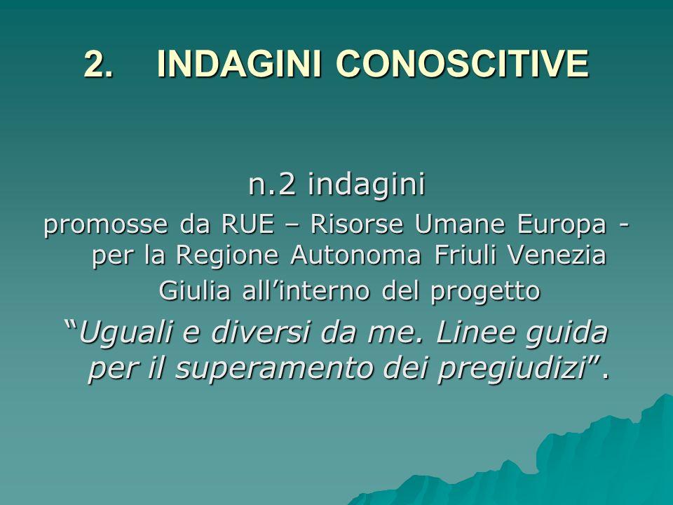 2. INDAGINI CONOSCITIVE n.2 indagini promosse da RUE – Risorse Umane Europa - per la Regione Autonoma Friuli Venezia Giulia allinterno del progetto Ug