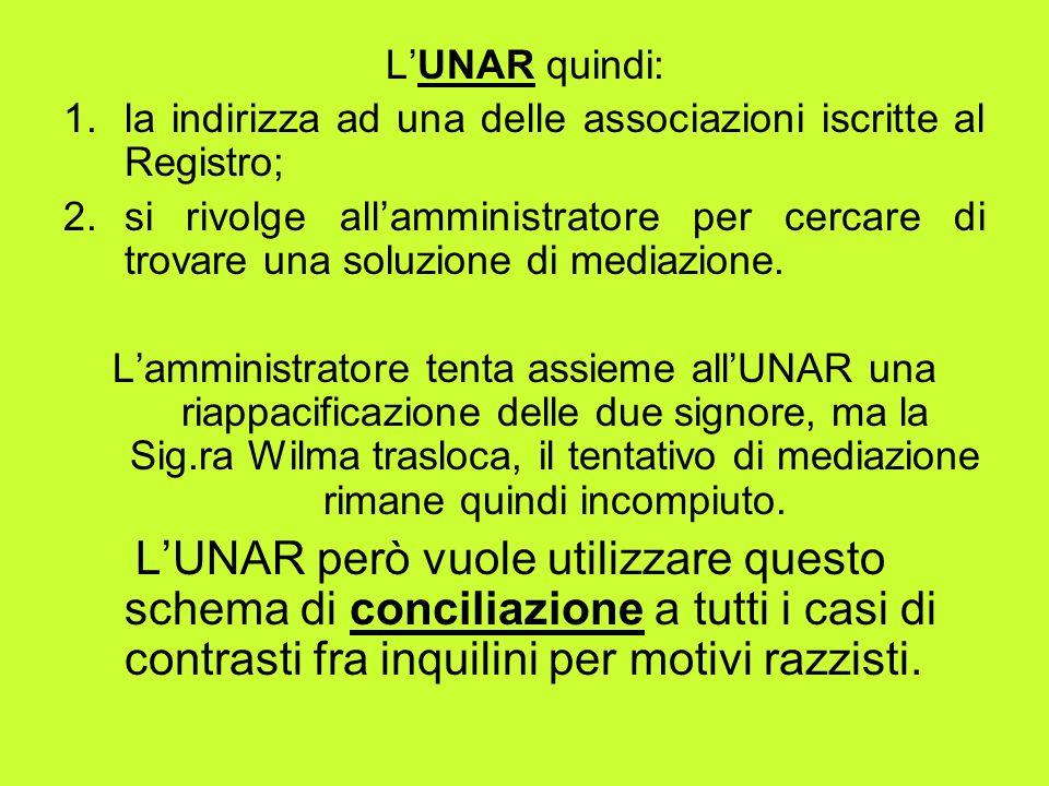 LUNAR quindi: 1.la indirizza ad una delle associazioni iscritte al Registro; 2.si rivolge allamministratore per cercare di trovare una soluzione di mediazione.