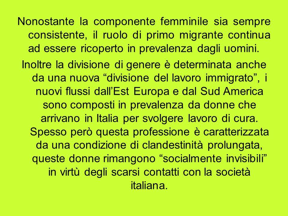 Nonostante la componente femminile sia sempre consistente, il ruolo di primo migrante continua ad essere ricoperto in prevalenza dagli uomini.