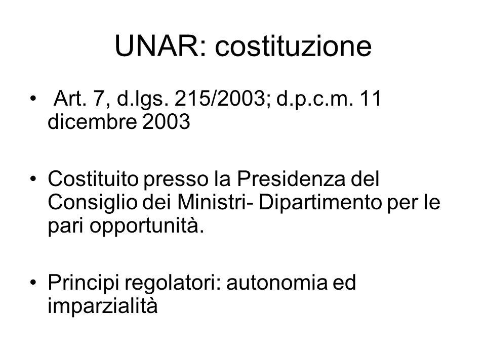 UNAR: costituzione Art. 7, d.lgs. 215/2003; d.p.c.m. 11 dicembre 2003 Costituito presso la Presidenza del Consiglio dei Ministri- Dipartimento per le