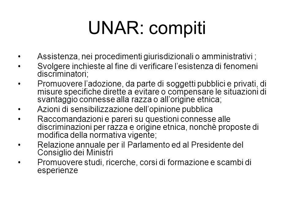 UNAR: compiti Assistenza, nei procedimenti giurisdizionali o amministrativi ; Svolgere inchieste al fine di verificare lesistenza di fenomeni discrimi