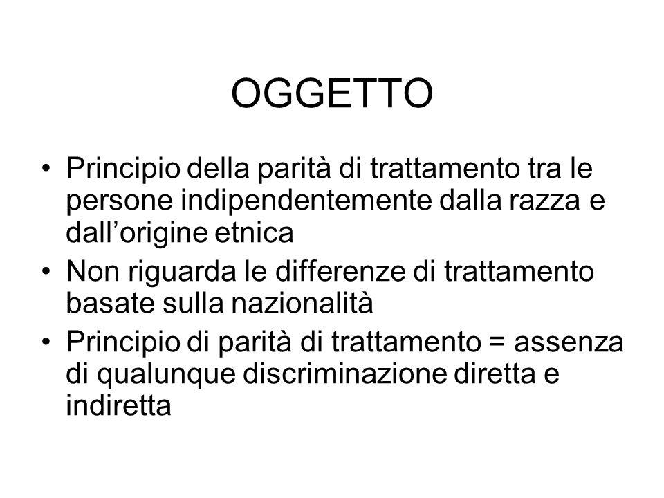 OGGETTO Principio della parità di trattamento tra le persone indipendentemente dalla razza e dallorigine etnica Non riguarda le differenze di trattame