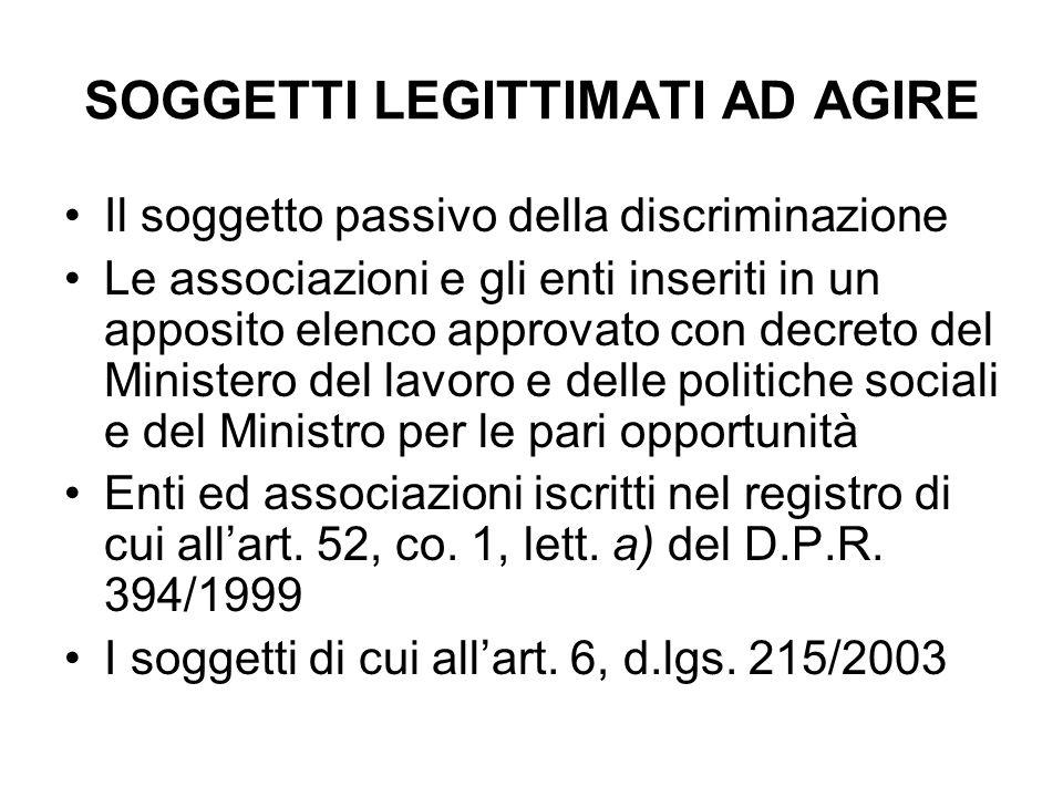 SOGGETTI LEGITTIMATI AD AGIRE Il soggetto passivo della discriminazione Le associazioni e gli enti inseriti in un apposito elenco approvato con decret