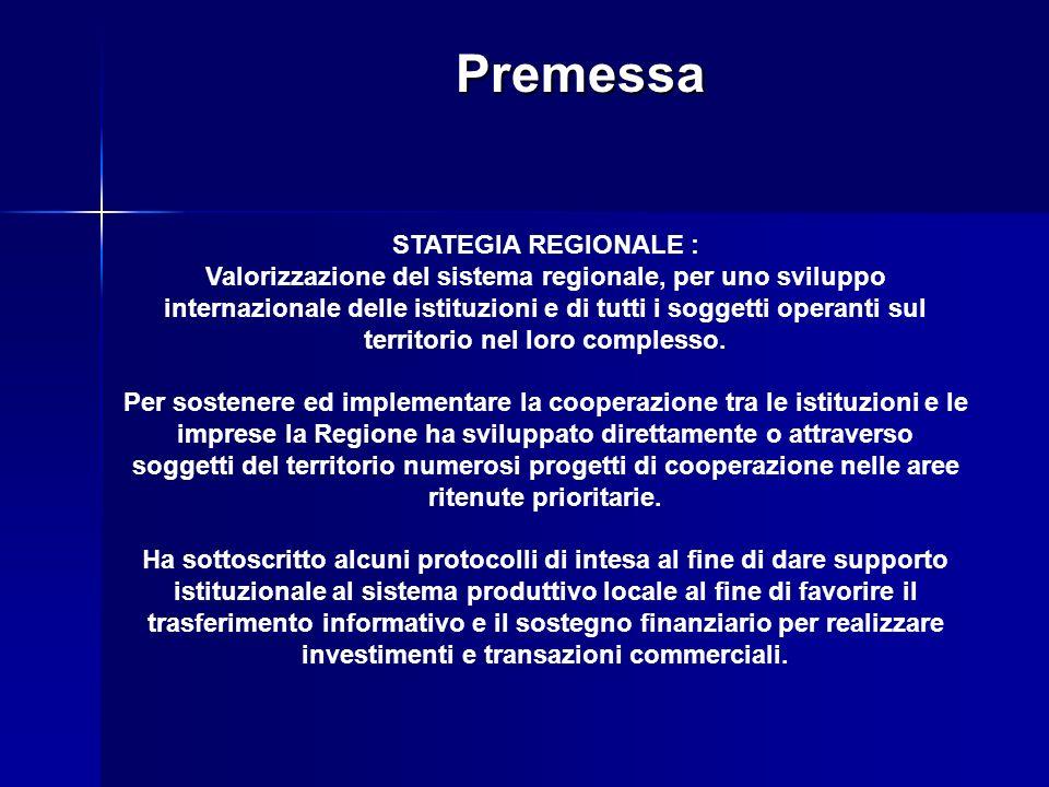 Premessa STATEGIA REGIONALE : Valorizzazione del sistema regionale, per uno sviluppo internazionale delle istituzioni e di tutti i soggetti operanti sul territorio nel loro complesso.