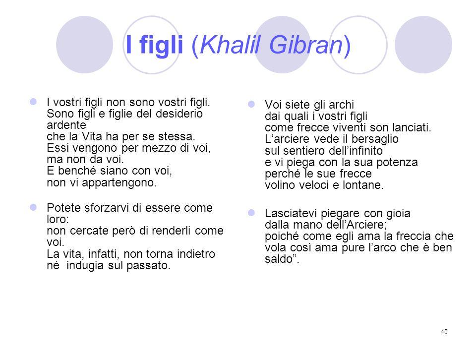 40 I figli (Khalil Gibran) I vostri figli non sono vostri figli. Sono figli e figlie del desiderio ardente che la Vita ha per se stessa. Essi vengono