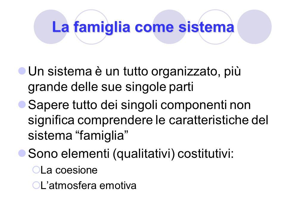 La famiglia come sistema Un sistema è un tutto organizzato, più grande delle sue singole parti Sapere tutto dei singoli componenti non significa compr