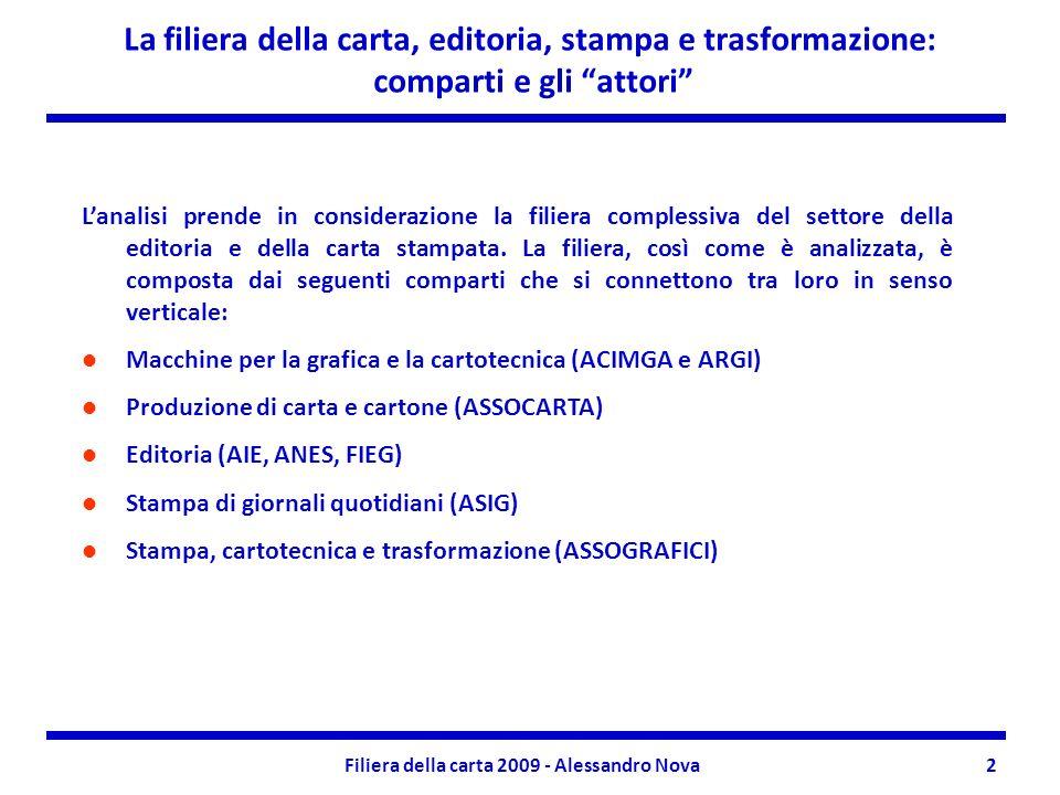 Filiera della carta 2009 - Alessandro Nova2 La filiera della carta, editoria, stampa e trasformazione: comparti e gli attori Lanalisi prende in considerazione la filiera complessiva del settore della editoria e della carta stampata.