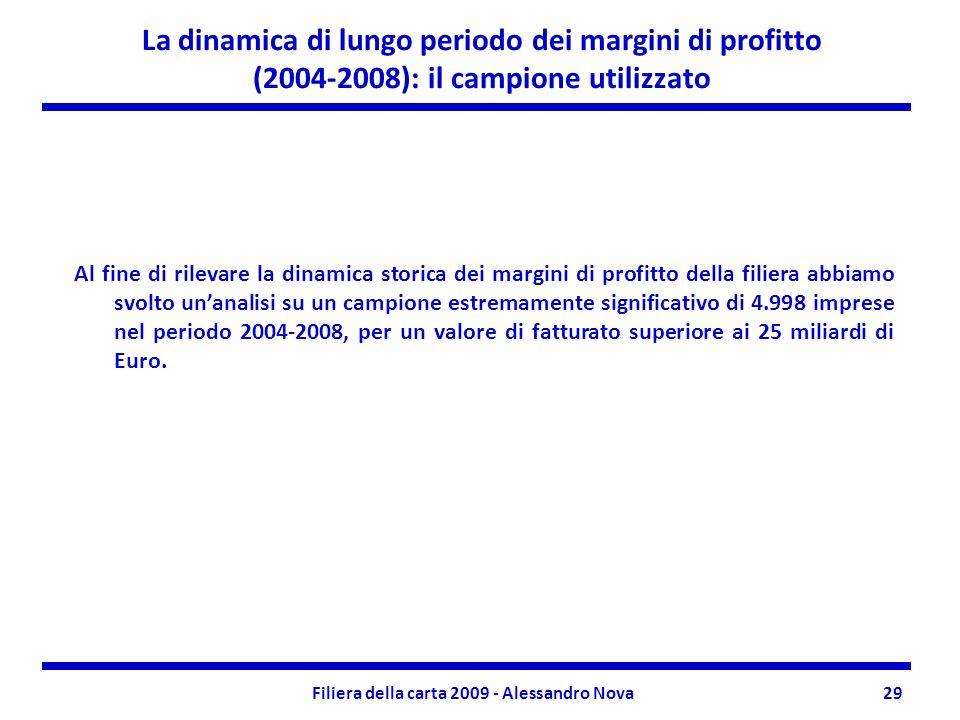 Filiera della carta 2009 - Alessandro Nova29 La dinamica di lungo periodo dei margini di profitto (2004-2008): il campione utilizzato Al fine di rilevare la dinamica storica dei margini di profitto della filiera abbiamo svolto unanalisi su un campione estremamente significativo di 4.998 imprese nel periodo 2004-2008, per un valore di fatturato superiore ai 25 miliardi di Euro.