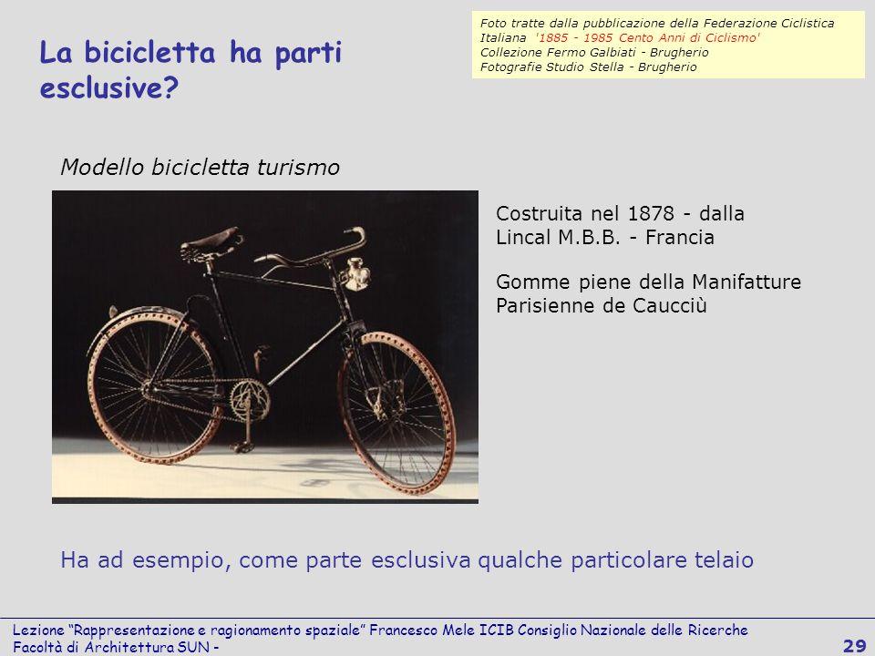 Lezione Rappresentazione e ragionamento spaziale Francesco Mele ICIB Consiglio Nazionale delle Ricerche Facoltà di Architettura SUN - 29 La bicicletta