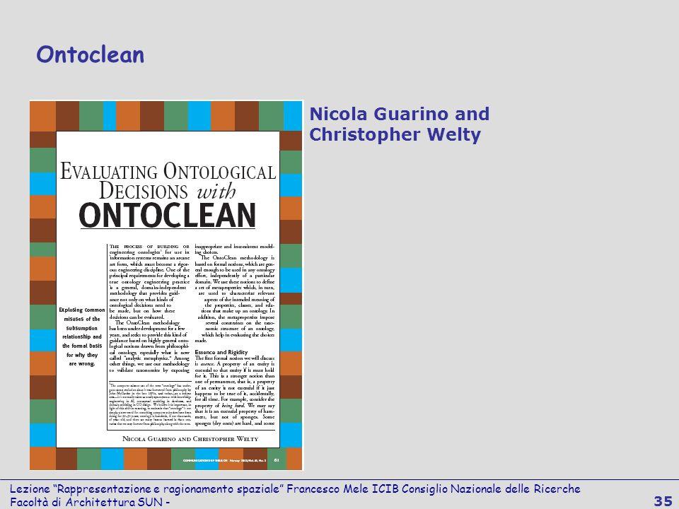 Lezione Rappresentazione e ragionamento spaziale Francesco Mele ICIB Consiglio Nazionale delle Ricerche Facoltà di Architettura SUN - 35 Ontoclean Nic