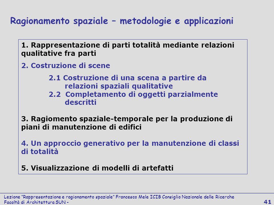 Lezione Rappresentazione e ragionamento spaziale Francesco Mele ICIB Consiglio Nazionale delle Ricerche Facoltà di Architettura SUN - 41 Ragionamento