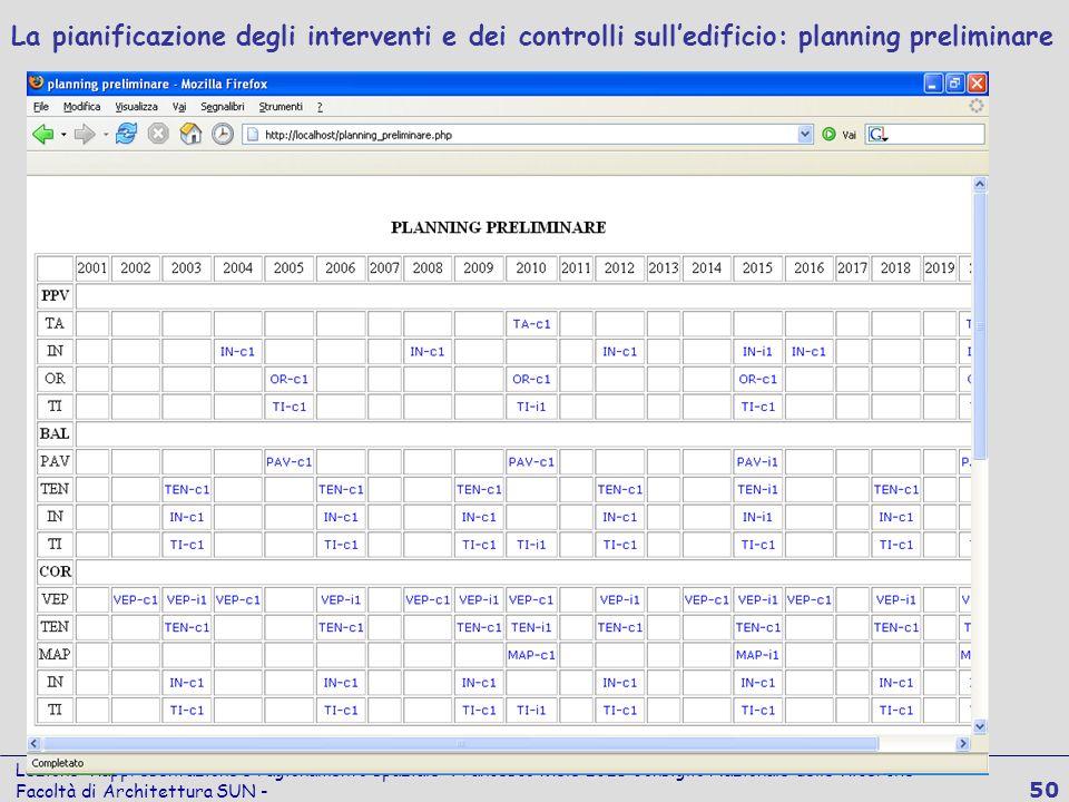 Lezione Rappresentazione e ragionamento spaziale Francesco Mele ICIB Consiglio Nazionale delle Ricerche Facoltà di Architettura SUN - 50 La pianificaz